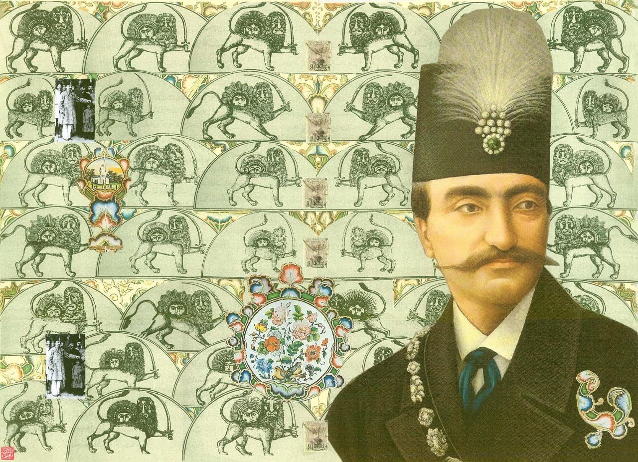 Naserdin-Shah-Collage-by-Iranian-Artist-Afsoon